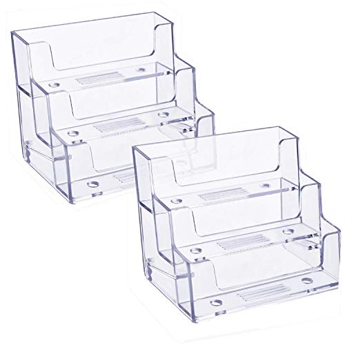 3 Pockets Acrylic Business Card Holder Stand Clear Desktop Countertop Office Business Organizer Acrylic Index Card Filling Display for Desk 2 pcs (3 Pocket)