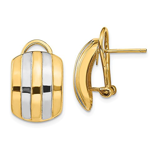 14k Yellow Gold And Rhodium Plated Ribbed Omega Back Hoop Earrings (17x12mm) Gift for Women