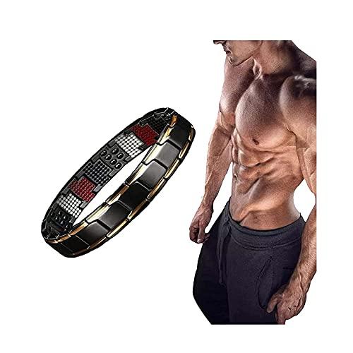 Magnetfeldtherapie Fit Plus Armband, Ultrastarkes Magnetfeldtherapiearmband Herren Damen, Abnehmbare, einstellbare Länge zum Abnehmen Gewichtsverlust Anti-Müdigkeit (Black Gold)