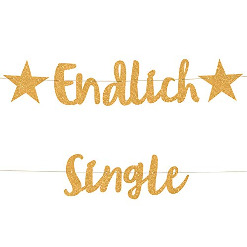 Compagno ENDLICH Single Girlande golden scheidungs Party abschiedsfeier Ehe Ende trennung Banner aufmunterung Single
