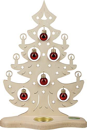 weigla Teelichthalter Weihnachtsbaum mit roten Kugeln für EIN Teelicht Erzgebirge garantiert