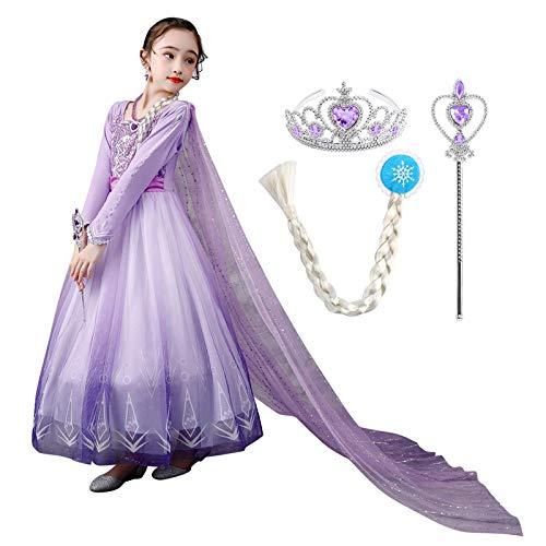 Ibakm - Disfraz de princesa ELSA para nia, disfraz de reina de nieve, cosplay, Halloween, carnaval, con tul de lentejuelas, accesorio para capa de princesa Manga larga (con accesorios). 7-8 Aos