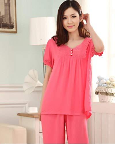 XFLOWR Damen Pyjama Set Plus Size M-4xl Sommer Kurzarm Nachtwäsche Damen...