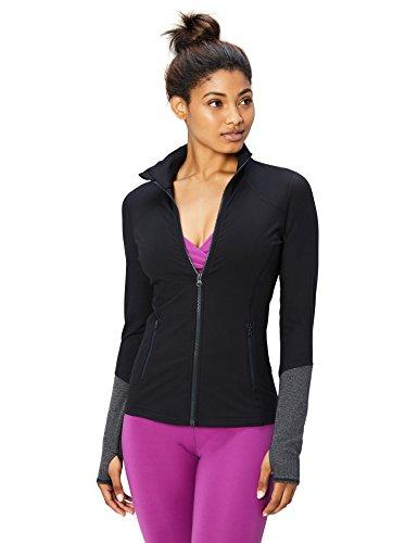 Amazon-Marke: Core 10, Jacke mit durchgehendem Reißverschluss für Damen (XS-3X) aus der 'Icon Series' The Ballerina, Schwarz (black), X-Large