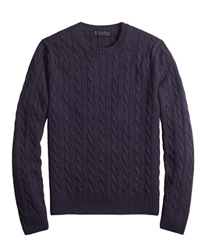Brooks Brothers Men's 99352 Cable-Knit Crewneck Cashmere Sweater (Medium) Navy