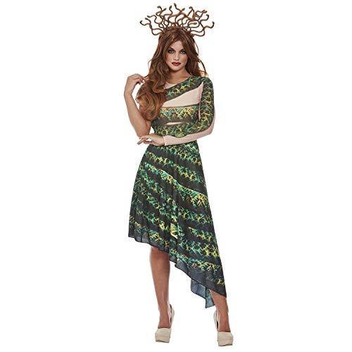 Amakando Extraordinario Disfraz de hidra con Serpientes - Verde-Negro M (ES 40/42) - Vestido de Medusa con Diadema para Dama - Insuperable para Fiesta de Disfraces y Fiesta temtica