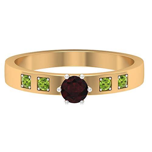 Rosec Jewels 14 quilates oro amarillo redonda Red Green Garnet Peridoto/Olivino