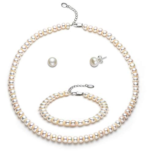 Freshwater Cultured Pearl Necklace Set Strand Bracelet Earrings Wedding Bridal Anniversary Jewellery Mothers Day Gifts for Women Her (Pearl diameter 7-8mm)