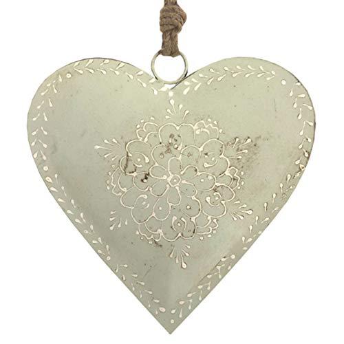 L'ORIGINALE DECO Cœur à Suspendre en Métal Fer Patiné Blanc 12 cm x 12 cm