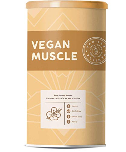 Vegan Muscle | Vanilla | Plant Protein from Sprouted Seeds | Enriched with BCAA and Creatine | 600g Powder