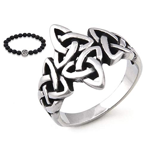 Gungneer Stainless Steel Celtic Knot Trinity Triquetra Ring Infinity Band Protecton Eternity Jewelry Men Women