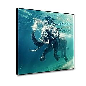 ARRMT Framed Canvas Wall Art Prints Cartoon Underwater Ocean Theme Walrus Elephant Swimming in Blue Ocean Modern Home Decor Living Room Bathroom Children Bedroom Wall Artwork Decor Poster 18x12inch