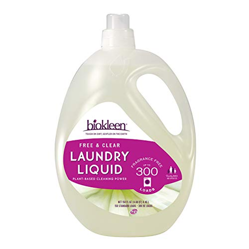 Biokleen Free & Clear Laundry Detergent, 300 HE Loads, Detergent Liquid, Concentrated, Eco-Friendly, Non-Toxic, Plant-Based, No Artificial Fragrance or Preservatives, Unscented, 150 Fl Oz