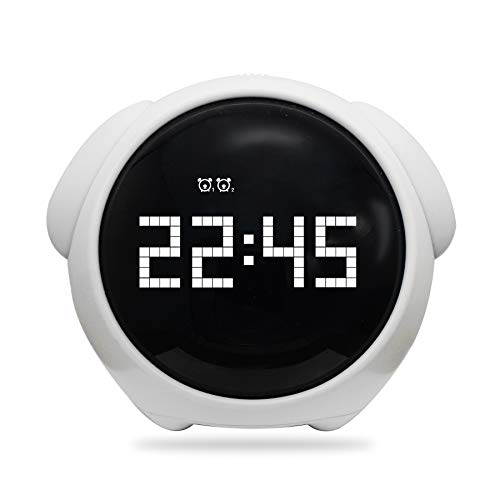 Vihimi Digital Alarm Clock with Wake Up Light, Dual Smart Bedside Alarm Clock,Night Light with Snooze Function,Voice Control and Chargable, Best Gift for Teens(White)