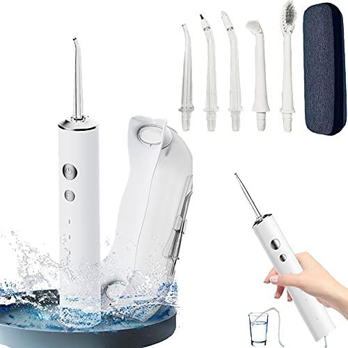 【新品割引】口腔洗浄器 TGQNZL ジェットウォッシャー 口腔洗浄機 コードレス 2in1 水の継ぎ足し不要可能 USB充電式 300ml 4つモード調節可能 替えノズル5本 歯ブラシ付き IPX7防水 携帯型 歯間ジェット洗浄(白い) (タンクなし)