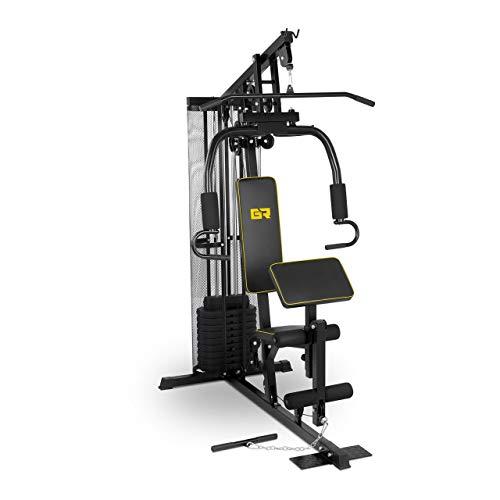 Gymrex Kraftstation Fitnessstation Multistation 5-in-1 GR-HG10 (max. Benutzergewicht 120 kg, inkl. Gewichtsplatten, Ersatzseilzug)