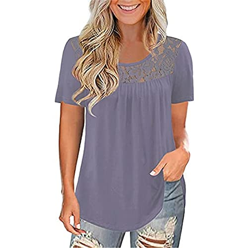 Mayntop Camiseta de verano para mujer, de manga corta, cuello redondo, de fibra de leche, color liso, plisada, suelta, con cuello redondo, para mujer
