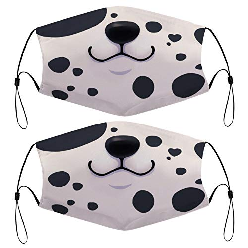 Dalmatian Puppy Mask Funny Dog Mouth Puppy Muzzle Kids Face Mask Set of 2 with 4 Filters Washable Reusable Adjustable Black Cloth Bandanas Scarf Neck Gaiters for Adult Men Women Fashion Designs