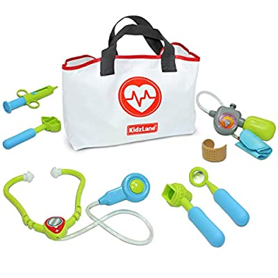Kidzlane Play Doctor Kit for Kids and Toddlers - Kids Doctor Play Set - 7 Piece Dr Set with Medical Storage Bag and Electronic Stethoscope for Kids - Ages 3+ from Kidzlane