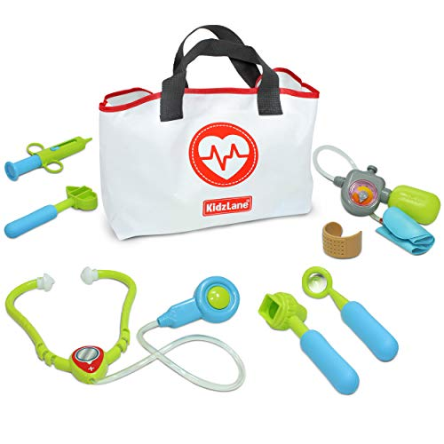 Kidzlane Play Doctor Kit for Toddlers and Kids - Kids Doctor Play Set - 7 Piece Dr Set with Medical Storage Bag and Electronic Stethoscope for Kids Ages 3+