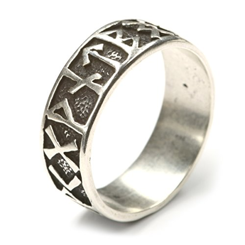 Drachensilber Riesiger Runenring Männer große Größe dicke Finger Schmuck 925 Silber Gr 80 Silberring