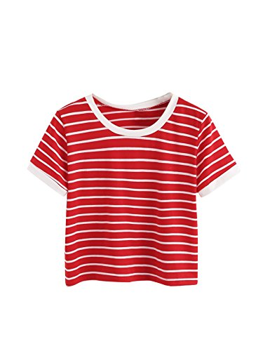 SweatyRocks Women's Striped Ringer Crop Top Summer Short Sleeve T-Shirts Red White Small