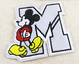 Mickey Mouse Letter M Embroidered Iron On/Sew On Patch Applque
