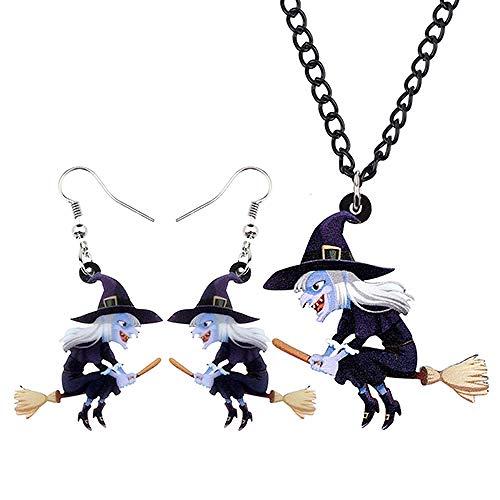 XQAQW Mujeres Niñas Joyería Acrílica Conjunto Collar Pendientes Colgante Halloween Festival Teenage Gift-Multicolor