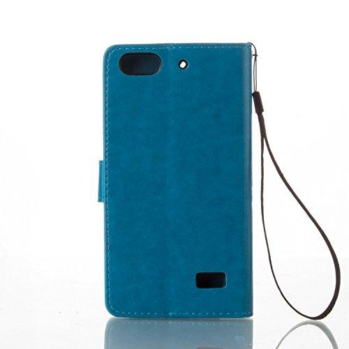 Kompatibel mit Huawei G Play mini Hülle,Huawei Honor 4C Hülle,Prägung Groß Schmetterling Blumen PU Lederhülle Flip Hülle Ständer Wallet Tasche Schutzhülle für für Huawei G Play mini/Honor 4C,Blau - 2