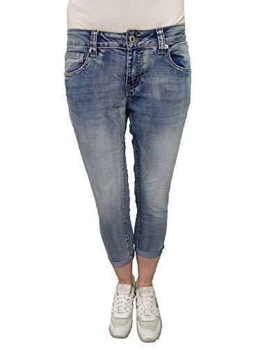 Italy Fashion Damen Stretch Jeans 7/8 Hose Denim Krempelhose Denim XL-42