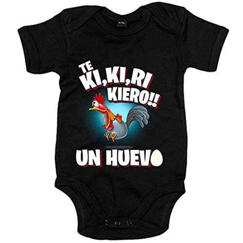 Body bebé frase divertida te quiero un huevo - Negro, Talla única 12 meses