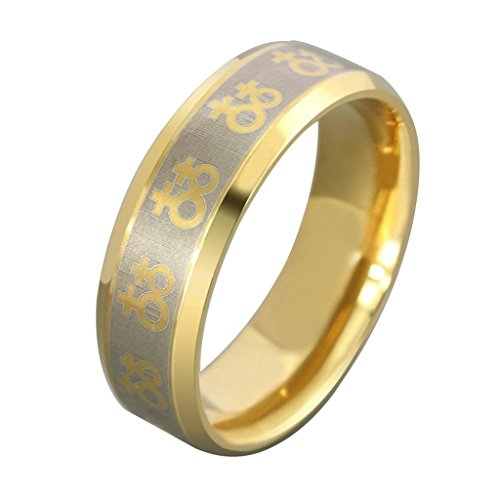 Beydodo Edelstahl Ring (Verlobungsringe) Damen, Schwester Lesben Symbol Breite 8mm Größe 71 (22.6) Gold