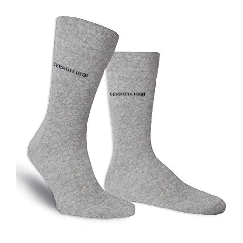 Mediawave Store CERRUTI 1881 Pack 3 Paar lange Socken für Männer Baumwolle, feine Naht (Grau, 43/46)
