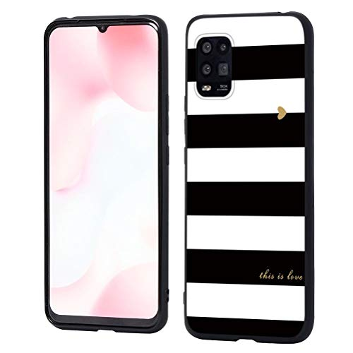 ZhuoFan Funda para Xiaomi Mi 10 Lite 5G, Cárcasa Silicona Ultrafina Negra con Dibujos Diseño Suave TPU Antigolpes de Protector Piel Case Cover Fundas Movil para Mi Note10 Lite, Rayas Negro