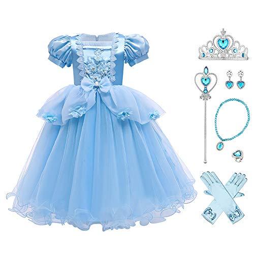 OBEEII Disfraz de Cenicienta para niños de 3 a 9 años Accesorio Blau02+. 4-5 Años