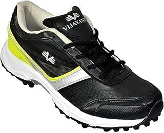 Vijayanti Predator Rubber Spikes Cricket/Hockey Shoes for Men (Black)