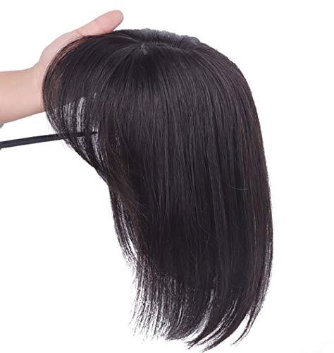 Glattes Echthaar-Topper, Clip-in-Haarteil, für Damen, 25,4 cm, Dunkelbraun