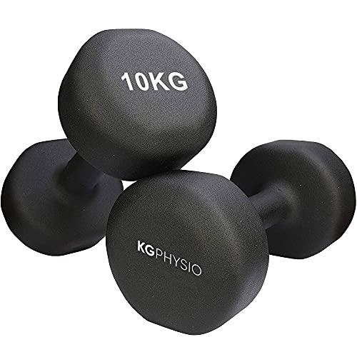 Neopren Hanteln Kurzhanteln Set von 2 A3 Poster enthalten. 1-10 kg Gewichte für Männer und Frauen ((2 x 10kg) Schwarz)