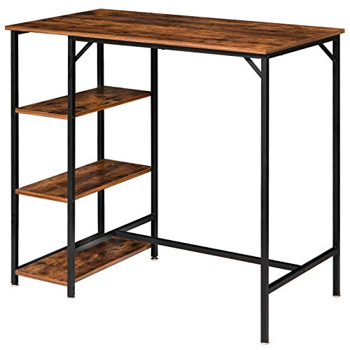 "IBUYKE 40""H Bar Table, Industrial Standing Computer Desk with 3 Storage Shelves, High Dining Table for Kitchen, Rustic Brown Counter Table UTMJ054H"