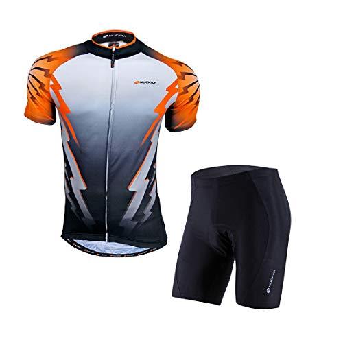 GWELL Herren Radtrikot TOP QUALITÄT Atmungsaktive Fahrradbekleidung Set Trikot Kurzarm + Radhose mit Sitzpolster für Radsport Orange XXL