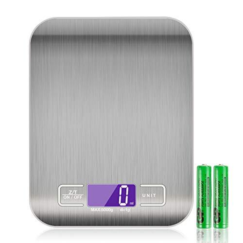 Báscula Digital para Cocina, TYC Báscula Digital con Pantalla LCD, Acero Inoxidable, 5kg / 11 lbs, Balanza de Alimentos Multifuncional para cocina