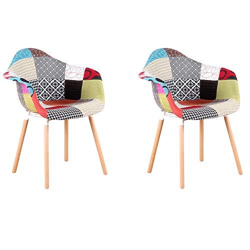 GroBKau 2er Set Mehrfarbig Patchwork Sessel Leinen Stoff Freizeit Wohnzimmer Eckstühle Empfangsstühle mit Rückenlehne Weichkissen rot