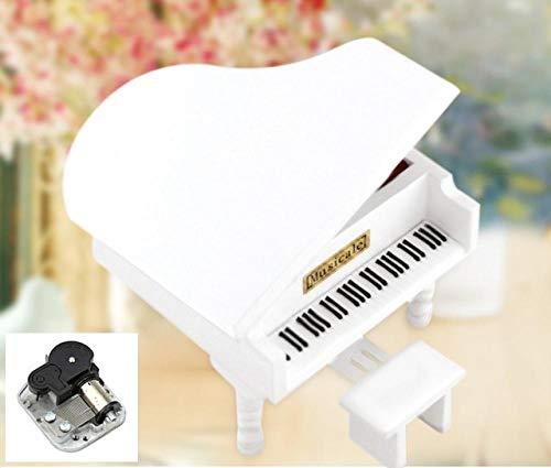 XIAOYY Hölzerne Klavier Spieluhr Melodie, in der Auch Schmuck Aufbewahrt für Heimdekoration, Basteln, Geburtstagsgeschenk kreative White_Reappeared_Yesterday
