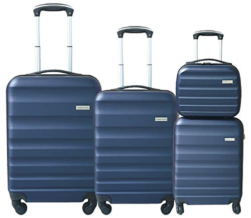 SET 3 TROLLEY ABS + BEAUTY CASE CON BAGAGLIO A MANO CABINA GianMarcoVenturi 023_(Night Blu)