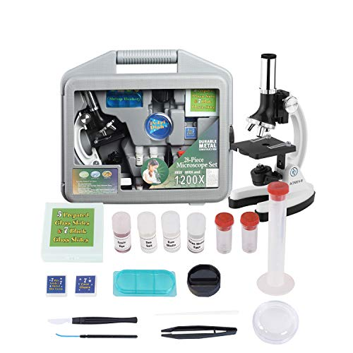AOMEKIE Microscope for Kids 300x to 1200X Magnifications Student Educational Beginners Compound Microscopes with Slides Metal Arm Base and Handy Storage Case