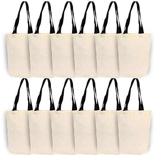 Natural Canvas Tote Bags with Bottom Gusset for Crafts, Shopping, Groceries, Books, 13x11x3.2 Inches (Black - 12 Pack)