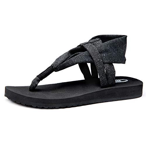 Ranberone Women's Yoga Mat Flip Flops Casual Flat Summer Beach Sandals Slippers Size 5~13 (9 B(M) US, Black)