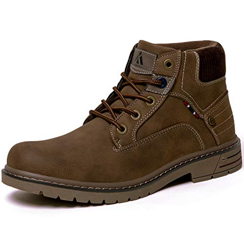 Men's Women's Mid Hiking Boots Outdoor Slip Resistant Waterproof Casual Leather Lightweight Ankle Work Boot Shoes Brown