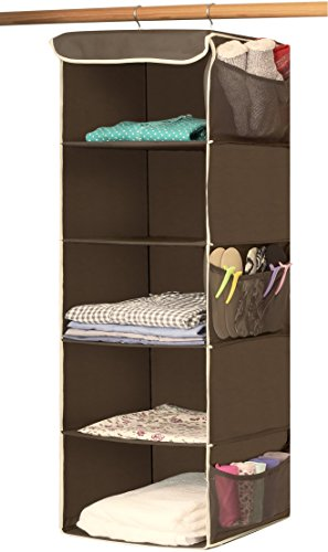 Simple Houseware 5 Shelves Hanging Closet Organizer, Bronze