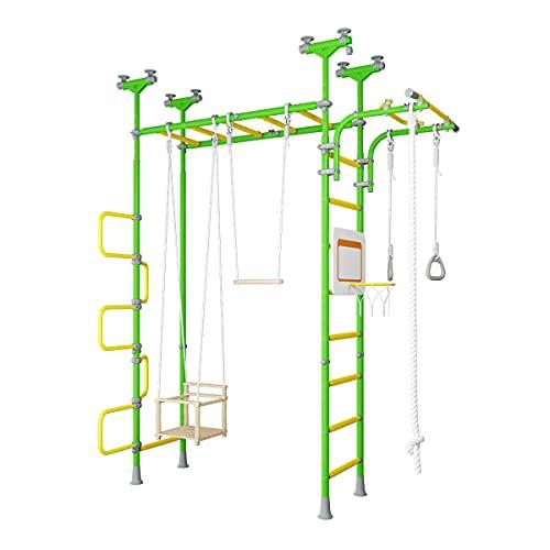Sprossenwand Pegas 2 grün Druckmontage Gymnastik Schwedenleiter Klimmzugstange Trapez, Indoor Spielplatz